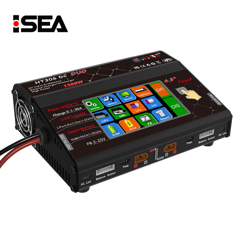 HTRC HT306 DC DUO 600W 2 30A 2 Dual LCD Touch Screen RC Battery Balance Charger