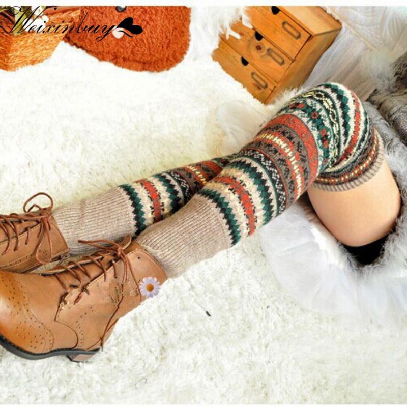 WEIXINBUY Frauen Winter Beinlinge Elegante Über Knie Lange Stricken abdeckung Patchwork Bunte Damen Häkeln Vintage Legging Chic