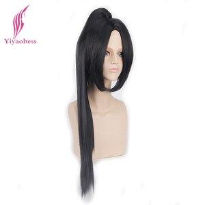 Image 5 - Yiyaobess 70cm sintético longo em linha reta branco preto cosplay peruca de cabelo com um rabo de cavalo perucas masculinas para homem