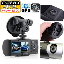 Wholesale SKydot Dual Lens 1080P DVR X3000 Registrar R300 Car Camera Dash Cam 2.7 inch GPS DVRS 140 Degree G-sensor Video Recorder