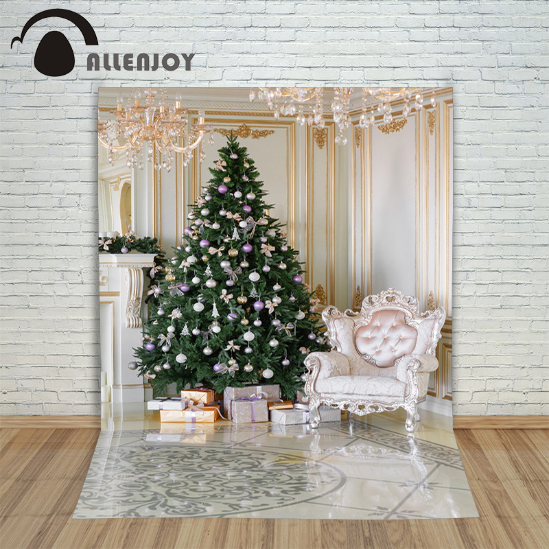 Allenjoy Christmas backdrop Tree ball chair chandelier gift royal professional backdrop background pictures oxford cloth