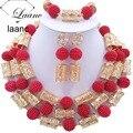 Boda Nigeriano Perlas africanas Sistemas de La Joyería Nupcial Rojo 20mm Perlas De Plástico de Color Oro Accesorios AL120