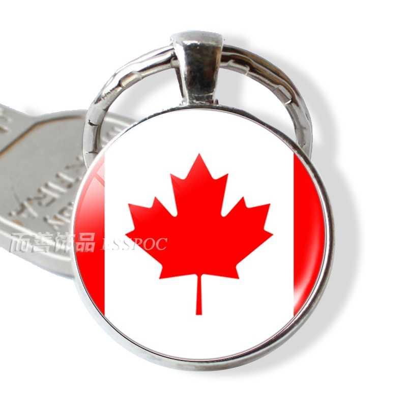 ... Flag USA UK Brazil Russia Spain Glamour Glass Dome Keyring Key Ring  Punk Women Men Fashion ... f28e3394d2