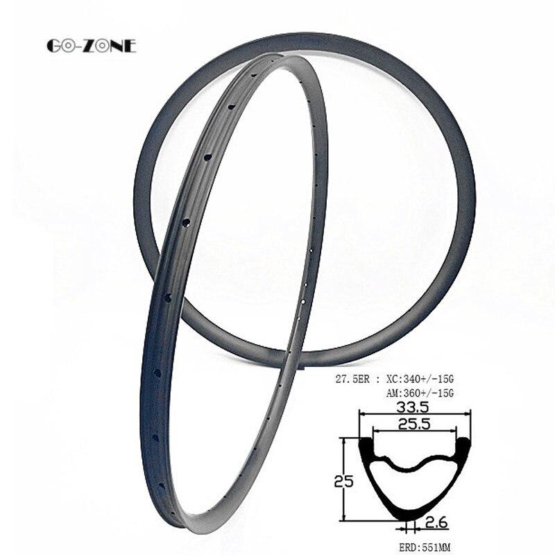 Go-zone 27.5 inch mountain bike rim asymmetric 33.5 width 25 depth tubeless disc brake carbon rim XC/AM 27.5er mtb rim