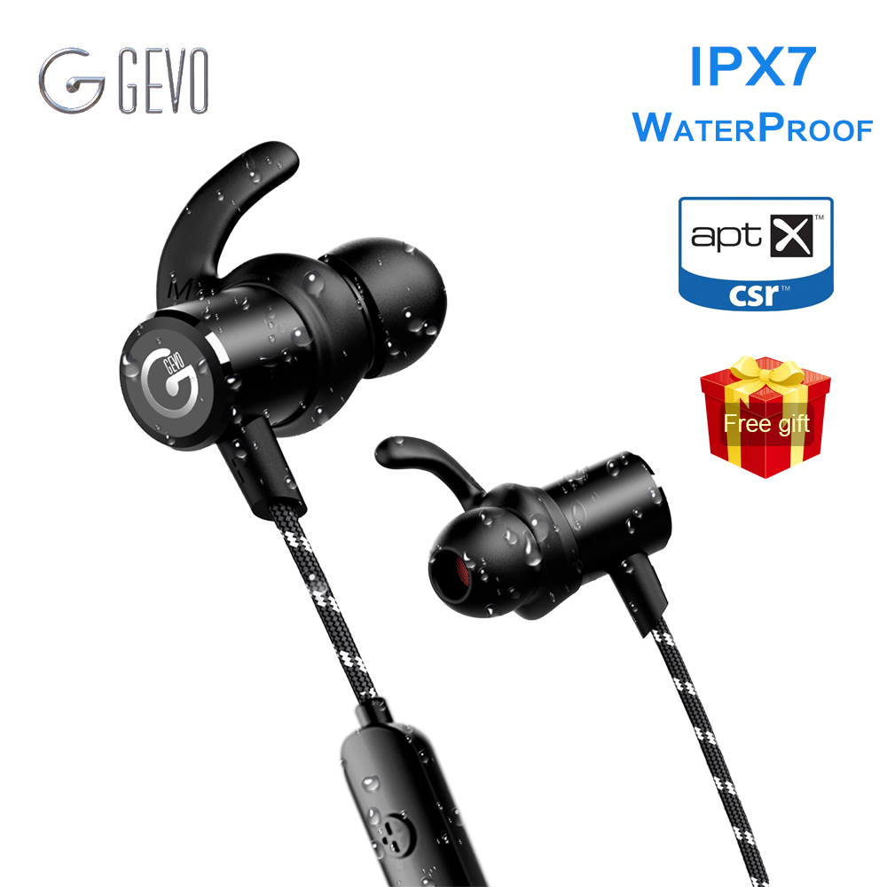 GEVO GV-18BT Sans Fil Casque Bluetooth Sport Dans l'oreille Magnétique Stéréo Basse Étanche Casque Écouteurs Écouteurs Pour Xiaomi Téléphone