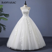 BANVASAC 2018 Real Photos Flowers Strapless Ball Gown Wedding Dresses Plus Size Lace Appliques Backless Bridal