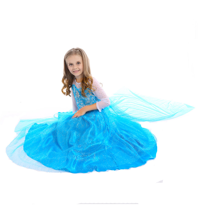 4 to 12 years old Kids Halloween Cosplay Costume Christmas Party Snow queen Elsa Dress Children Toddler Girls Dresses