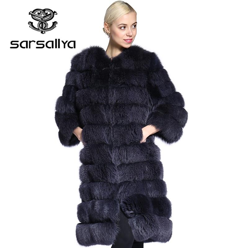 SARSALLYA réel de fourrure Nouvelle Mode Naturel Renard De Fourrure D'hiver Chaud Manteau Pour Femmes Réel Veste De Fourrure Rayé Style Plus