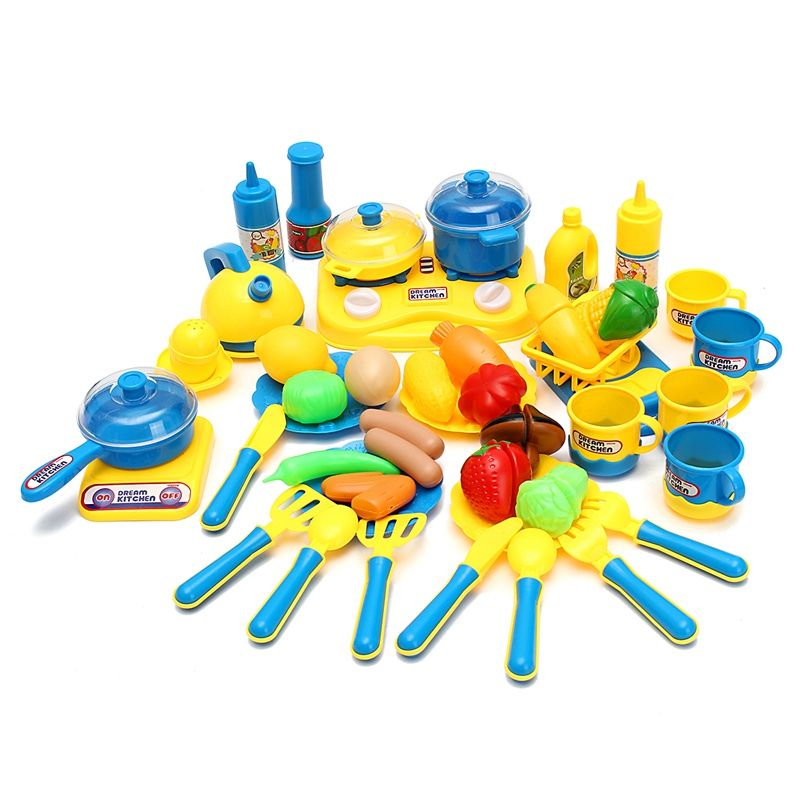 46pcs Set Classic Cooking Accessories Toys Set For Children Pretend Play Cutting Food Vegetable Set Kitchen Toys For Kids