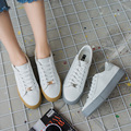 Бесплатная доставка 2017 весна новая мода женская обувь квартиры повседневная спорт дышащий PU белый туфли на платформе женщины повседневная обувь марки