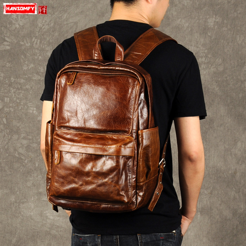 New Retro Oil Wax Leather Shoulder Bag Men Genuine Leather Casual Laptop Bag Trend Top Layer Leather Male Brown Travel Backpack We Take Customers As Our Gods Luggage & Bags