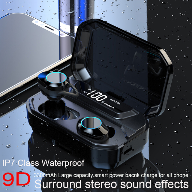 Stereo Earphone Wireless  Waterproof Earphones with LED Smart Power Bank Phone Holder
