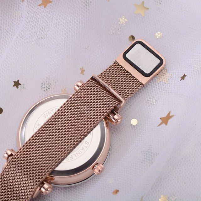 Luxury Women Watches Rose Gold Mesh Ladies Clock Magnet Buckle Starry Diamond Geometric Surface Casual Dress Quartz Wristwatch 2