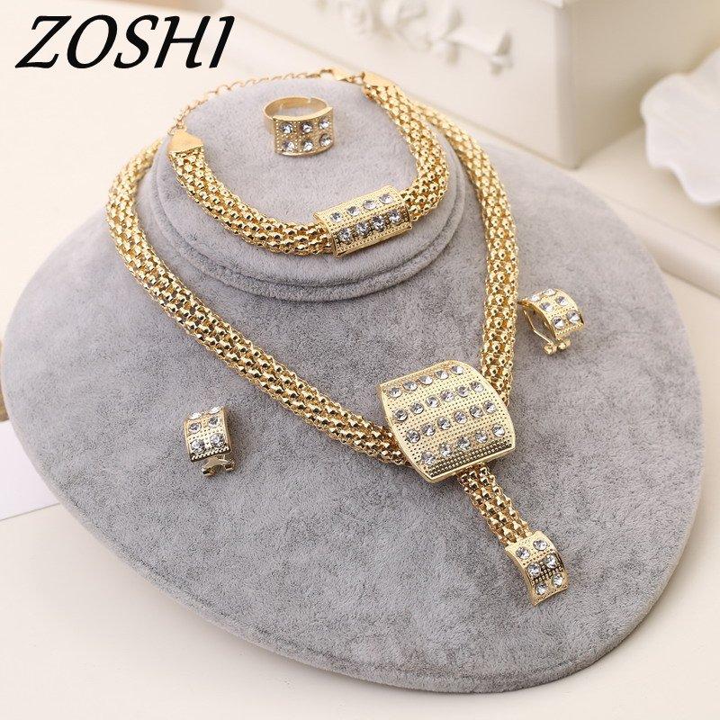 ZOSHI Fashion Women Austrian Crystal Jewelry Sets chain knot pendant Necklace Bracelet Earrings Ring 4pcs african jewelry set