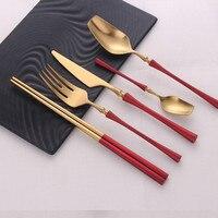 30pcs 304 stainless steel cutlery set portable cutlery tableware with luxury handle Western tableware steak knife and fork set|Dinnerware Sets|Home & Garden -