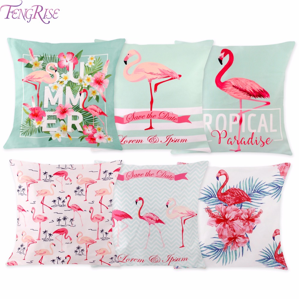 FENGRISE 45X45 cm Flamingo Kissen Fall Rosa Sommer Party Kissenbezug ...