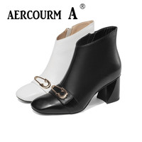 Aercourm A 2019 Women Genuine Leather Boots Black White Winter Shoes Short Plush Boots Lace Metal Button Shoes Ankle Boots Women