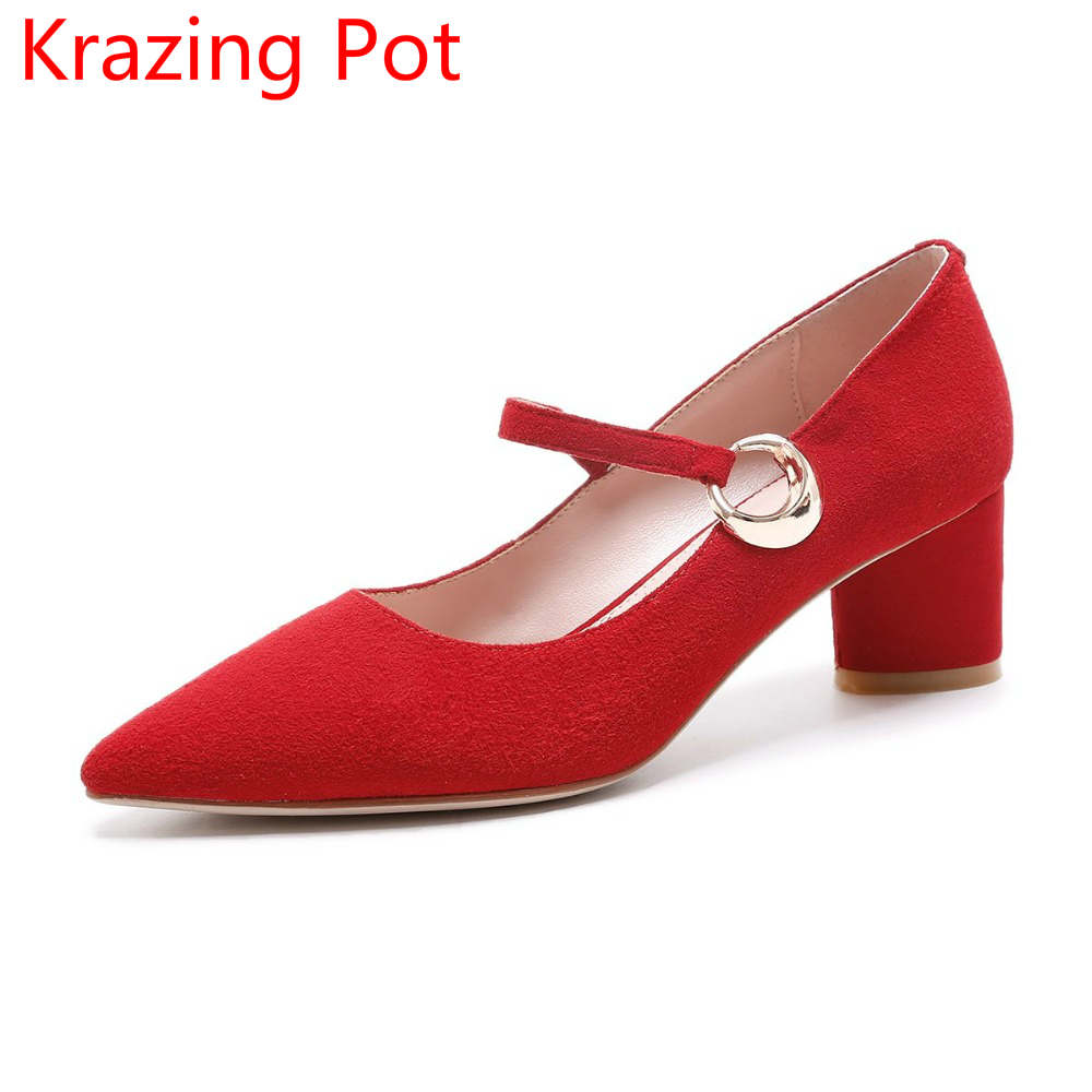 2017 Shallow Sheep Suede Metal Buckle Thick High Heels Pointed Toe Pumps Handmade Mary Janes Solid Office Lady Wedding Shoes L05 2017 fashion shallow sheep suede brand shoes round toe preppy style med heels solid sweet pumps slingback sandals young lady l22