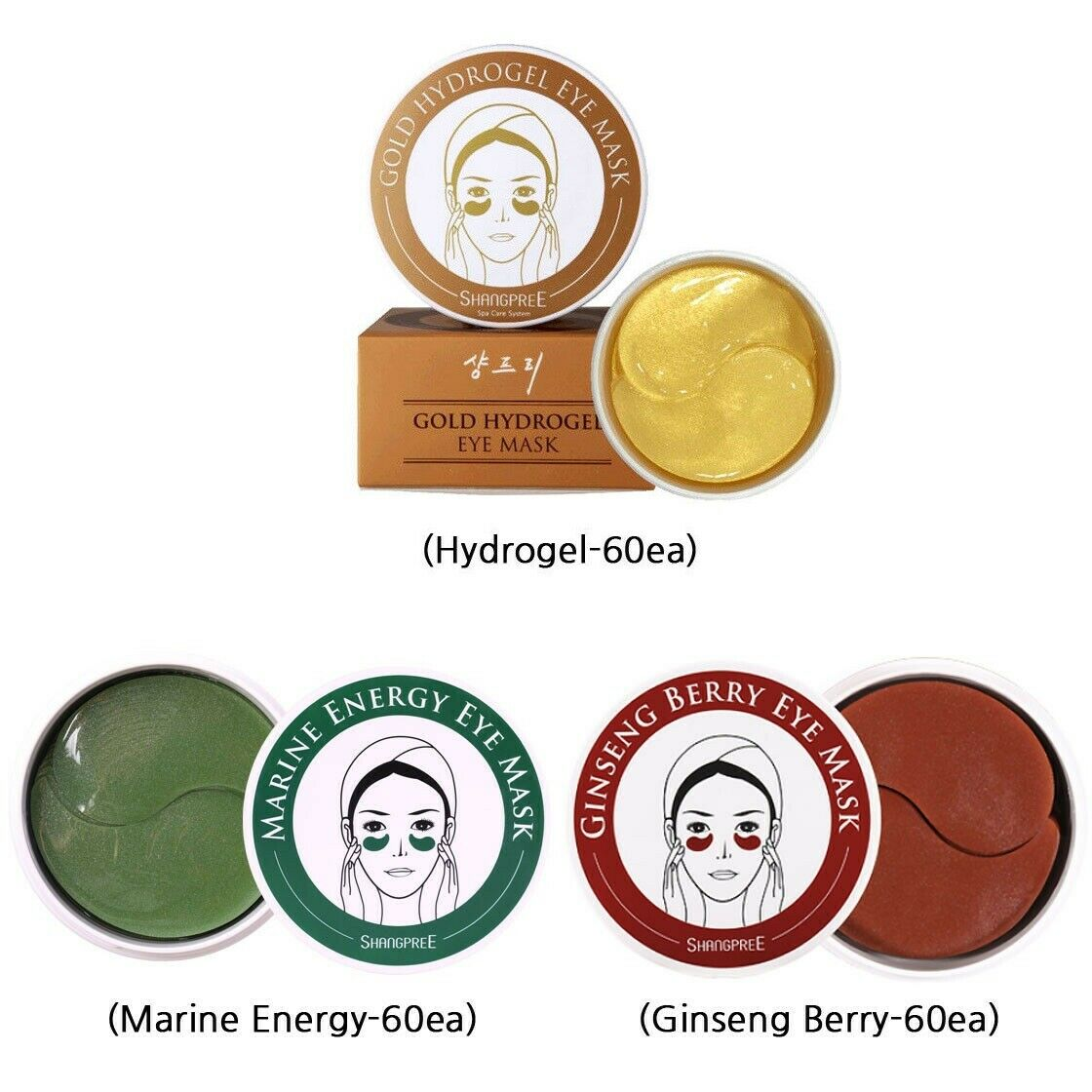 Korea Shangpree Ginseng Berry / Marine Energy / Gold Hydrogel Eye Mask Hydrating Under Eye Patch Pads Anti Wrinkles Dark Circle