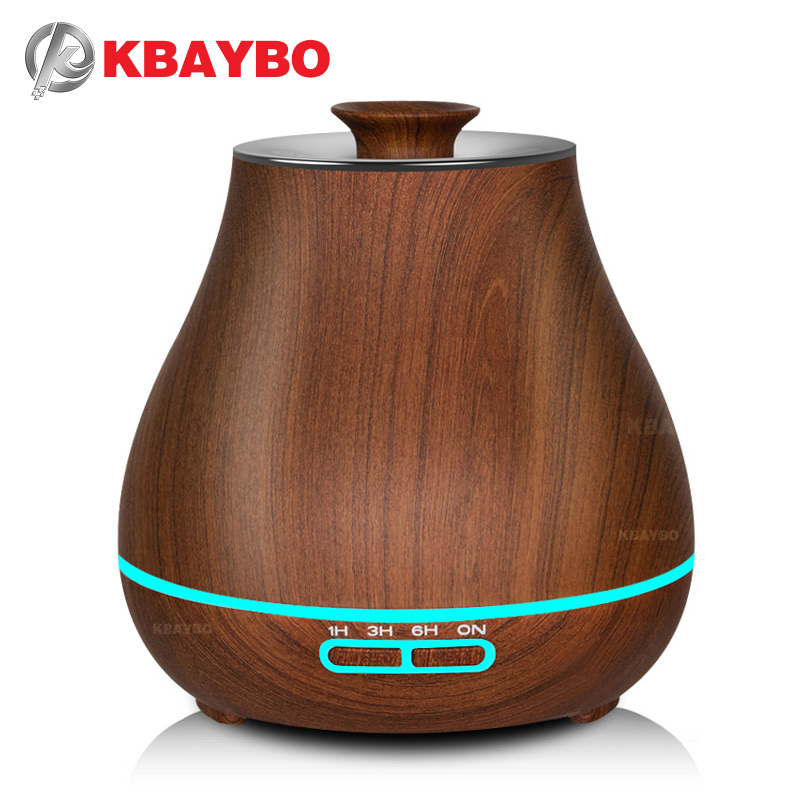 KBAYBO 400 ml Aroma Essential Oil Diffuser Ultrasonic Air Humidifier with Wood Grain electric LED Lights aroma diffuser