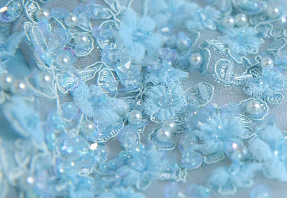 kvinner Himmelsblå sateng garn applique blomstret Perler slank - Nasjonale klær - Bilde 4