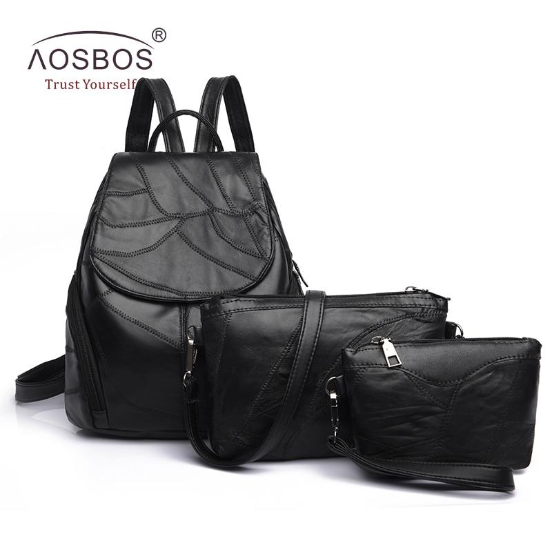 Aosbos Women 3 Pcs Set Genuine Leather Composite Bags Designer Black Sheepskin Travel Backpack Girl Solid