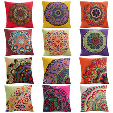 45x45cm Classic Pillowcase Home Flower National Style Printed Cushion Cover Linen Sofa Seat Bedroom Decorative Cushions 45x45cm classic pillowcase home flower national style printed cushion cover linen sofa seat bedroom decorative cushions