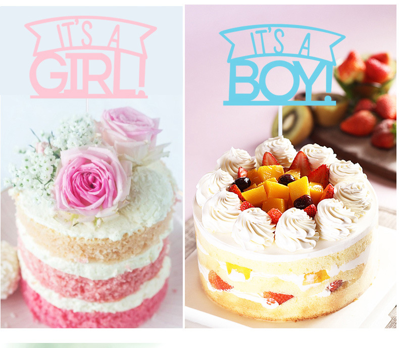 Kids Happy Birthday Cupcake Cake Toppers Cakes Flags Its A Girl & Boy  Baby Shower Birthday Festival Party Baking Decor