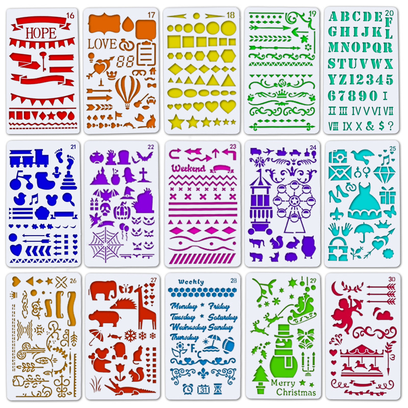 Creative Plastic Animal Christmas DIY Drawing Template Ruler Promotional Stencils Gift Stationery School Supplies Xmas Gift