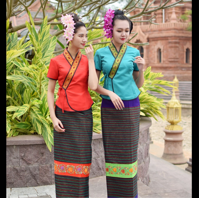 Show details for Asian Thai Laos Vietnam Dai Nation Folk Dance Traditional Dress Blue Queen Single Shoulder Ancient Thailand Style Red Outfit