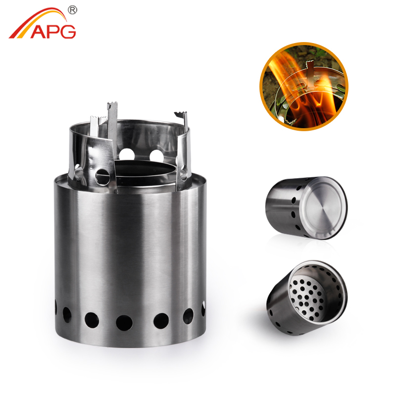 APG Portable wood camp stove Foldable Solidified Alcohol burners Backpacking Picnic Firewood Furnace image
