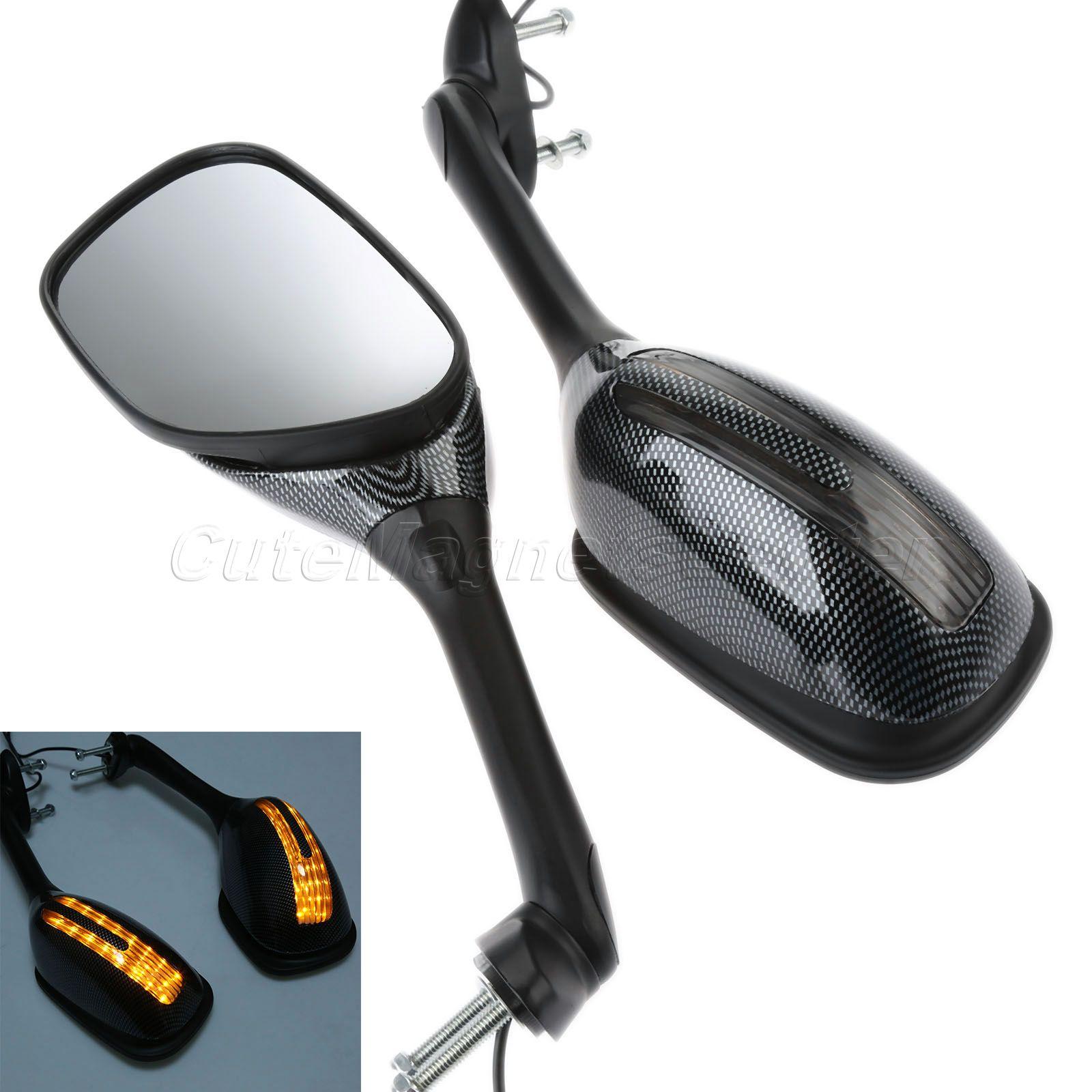 Mtsooning 2pcs Motorcycle Rear Mirrors with LED Light for Honda Yamaha Ducati Suzuki Kawasaki