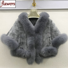 Winter Vrouwen Kwaliteit Echte Nerts Bontjas Natuurlijke Warm Mink Fur Jas Met Bontkraag Fox Lady Fashion 100% Echt bont Bovenkleding(China)