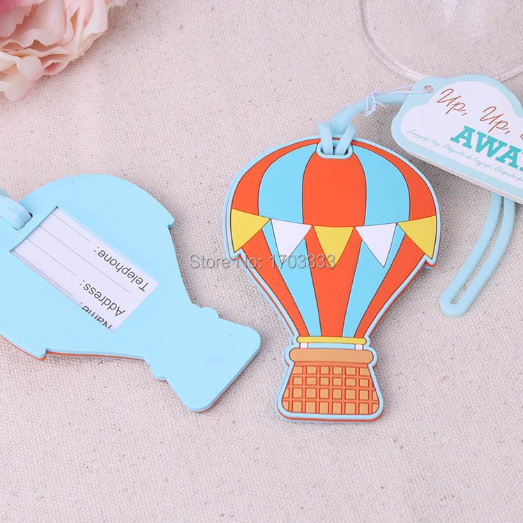 100pcs/Lot NEW Wedding Favors Up, Up & Away Hot Air Balloon Luggage Tag Rubber Luggage Tags Bridal Shower Favor FREE SHIPPING