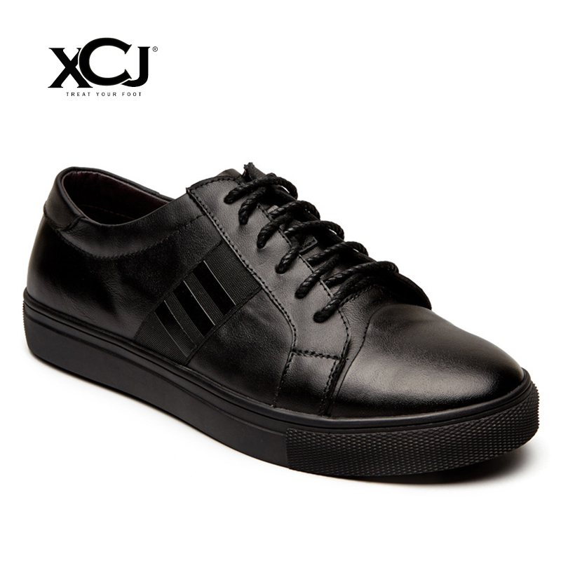 где купить XCJ Men Casual Shoes Men Sneakers Leather shoes Spring Autumn Genuine Leather Brand Men Shoes Men Flats Lace Up Plus Big Size по лучшей цене