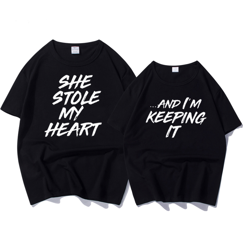 100% Cotton T-shirt Couple Clothes for Lovers Letter Print She Stole My Heart Funny T Shirt Female Tops Plus Size Women T-shirt
