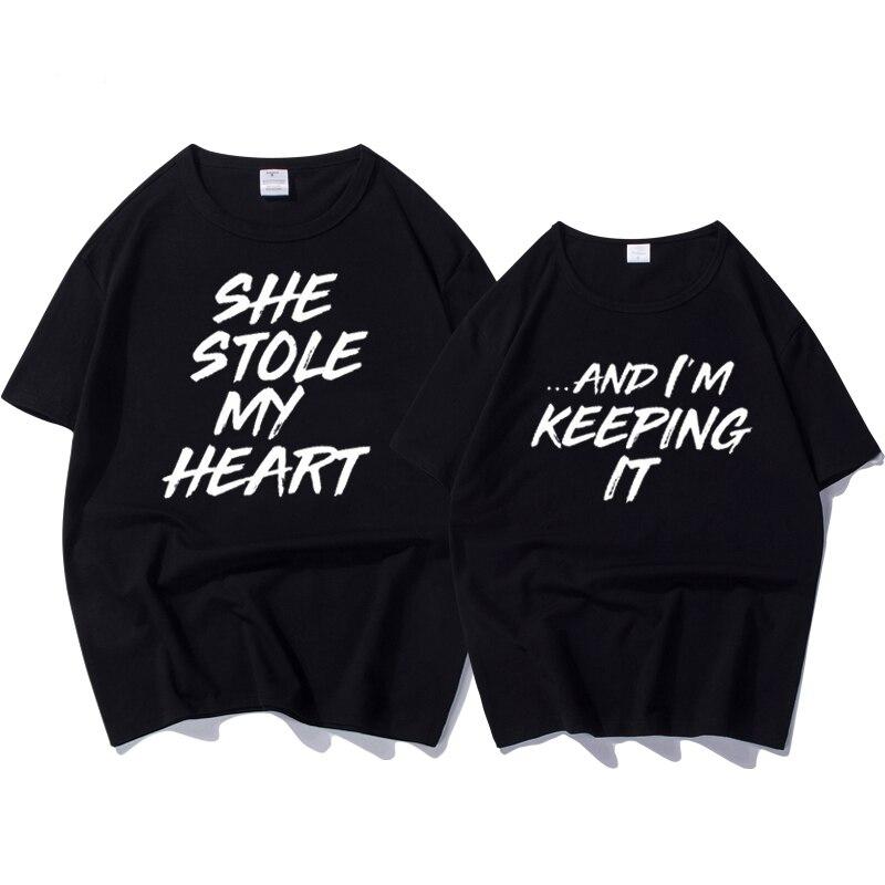 100% Baumwolle T-shirt Paar Kleidung Für Liebhaber Brief Drucken Sie Stola Mein Herz Lustige T Shirt Weibliche Tops Plus Größe Frauen T-shirt Schnelle Farbe