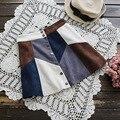 2017 Primavera de Cintura Alta de Ante Patchwork Mini Skrit Moda Una Línea de Falda del Busto Falda Ocasional de Las Mujeres de Garantía de Calidad ZH118