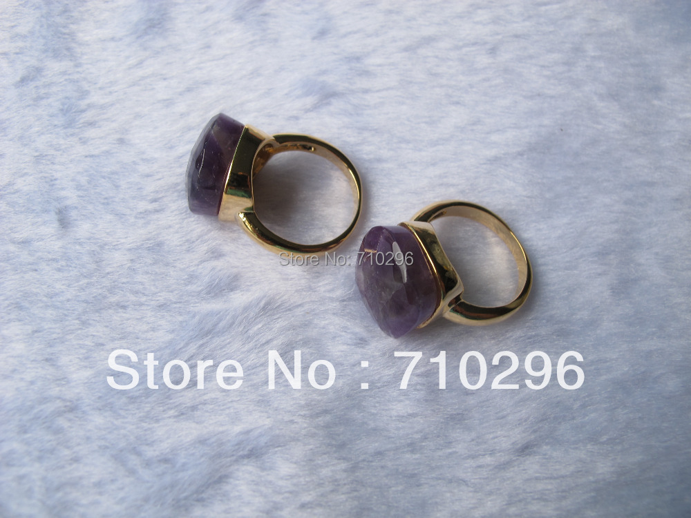 Fashion jewelry ring Gem stone Amethys t Brass finger Ring size