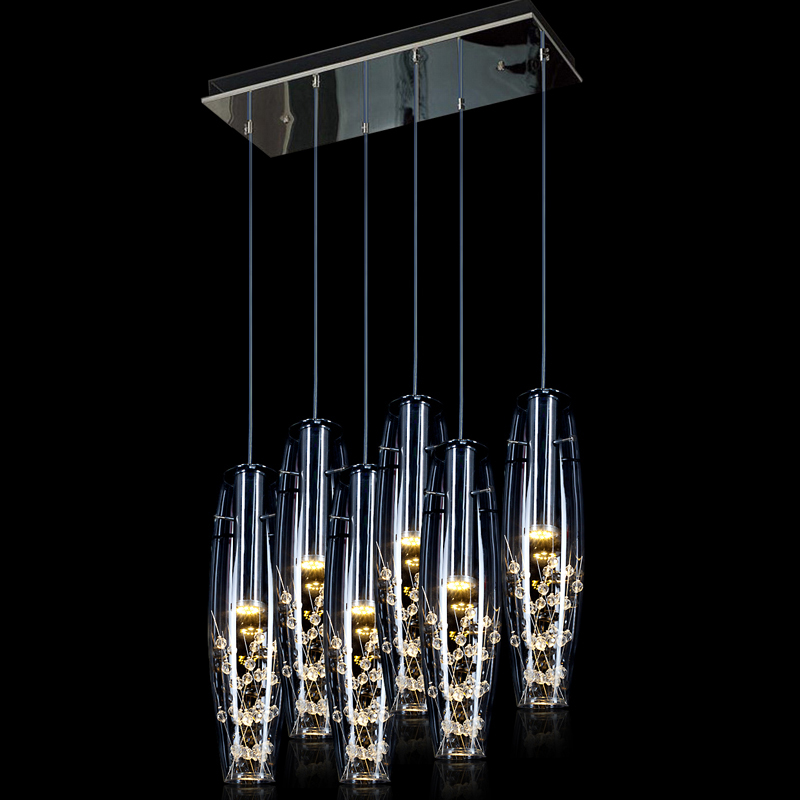 Modern 5W-30W LED Dining Room Pendant Lights Glass Vase Bottles Crystal Inside Bar Counter Restaurant Pendant Lighting Fixtures