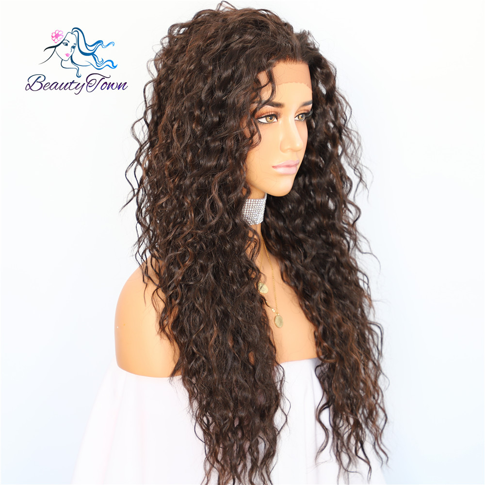 Image 3 - BeautyTown Kinky Curly Type Futura Heat Resistant Hair Black Highlight Gold Women Daily Makeup Synthetic Lace Front Party Wig-in Synthetic Lace Wigs from Hair Extensions & Wigs