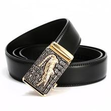 Купить с кэшбэком [LFMB]Automatic Buckle cowboy classic crocodile stylish belts men automatic leather belt mens luxury brand men belt cinto homme