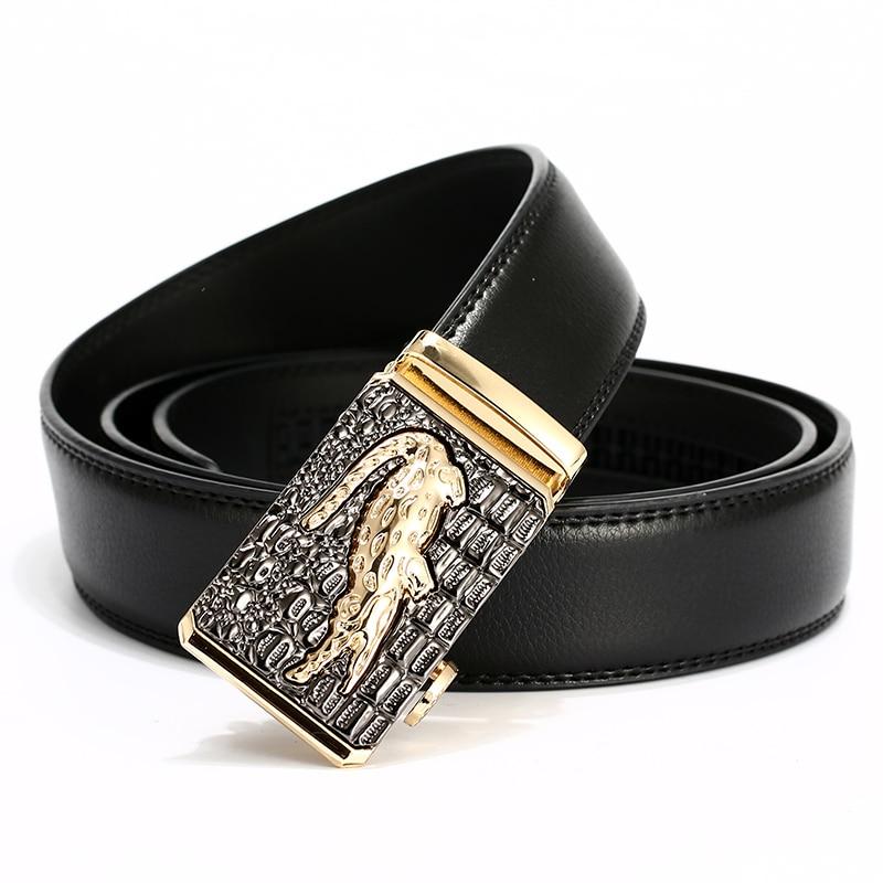 [Lfmb] fivela automática cowboy clássico crocodilo à moda cintos homens cinto de couro automático dos homens marca de luxo cinto
