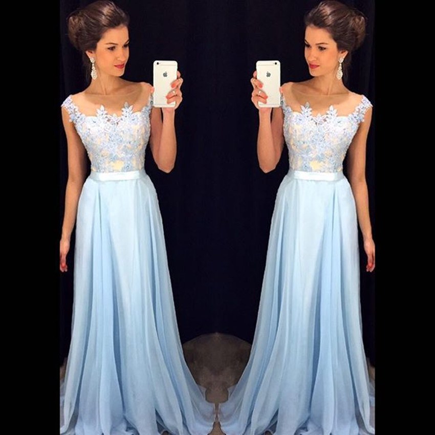 Lace Elegant Long Prom Dresses Lace Applique Light Blue Prom Dress 2019 Cap Sleeves Floor Length Formal Dress Vestidos