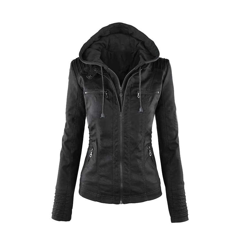 Litthing Leather Jacket Women 2019 Coat Women Faux Leather Jacket Gothic Motorbike PU Coats Outerwear Hooded Zipper Ladies Coat