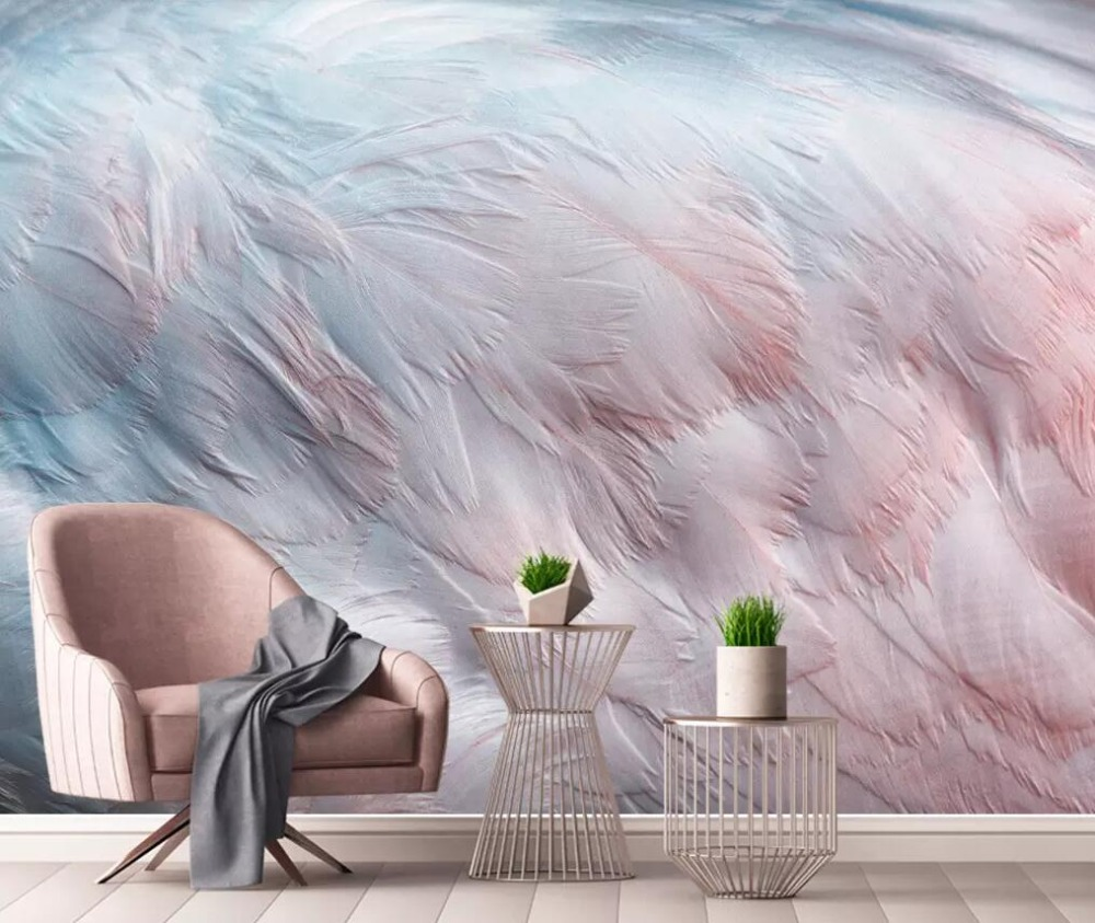 Nordic Minimalistic Watercolor Flamingo Wing Feather Background Wall Painting