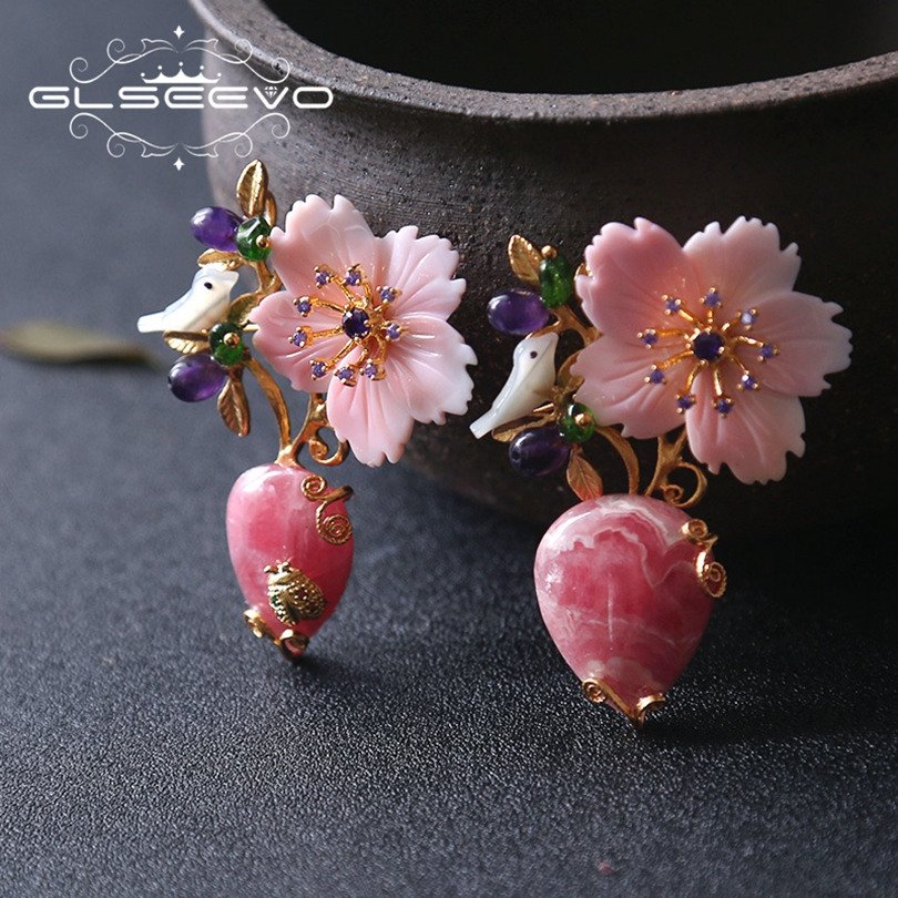 095e77c62 GLSEEVO Natural Rhodochrosite Stone Brooch Pins Mother Of Pearl Flower Bird  Brooches For Women Dual Use