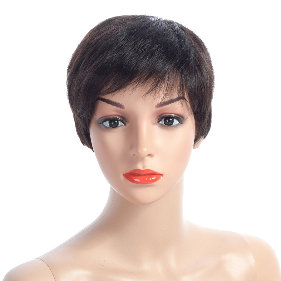NAYOO Hair Straight Human Hair Wigs With Bang Non Lace Wig Brazilian Short Bob Wigs For  ...