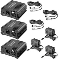 Neewer 3 Pack US Plug 1 Channel 48V Phantom Power Supply Adapter+8 Feet XLR Male to XLR Female Cable for Condenser Microphone