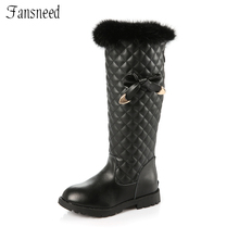 Snow boots girl 2017 autumn and winter genuine leather rabbit fur  high boots cute ladies leisure children boots